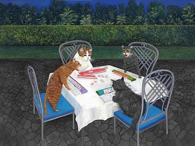 Poster featuring the painting Meowjongg - Cats Playing Mahjongg by Karen Zuk Rosenblatt