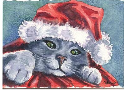 Meowy Christmas Poster by Marsha Elliott