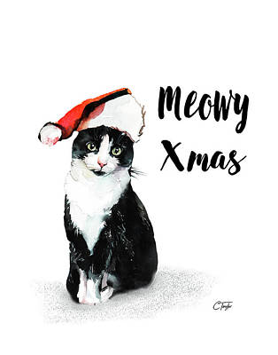 Poster featuring the painting Meowy Xmas by Colleen Taylor