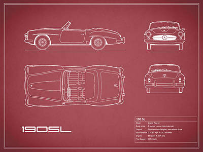 Mercedes 190 Sl Blueprint - Red Poster by Mark Rogan