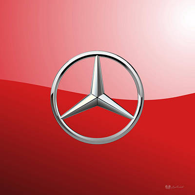 Mercedes-benz - 3d Badge On Red Poster by Serge Averbukh