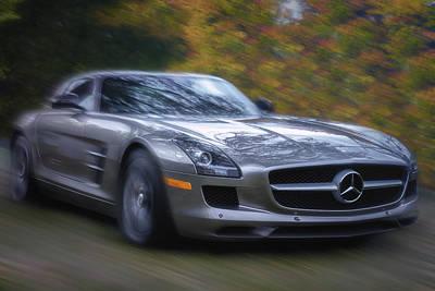Mercedes-benz Sls Amg Autumn Drive Poster