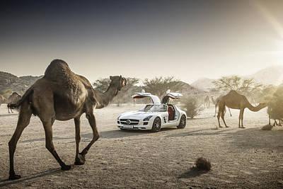 Mercedes Benz Sls With Camels In Saudi Poster