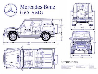 Mercedes G65 Amg Blueprint Poster