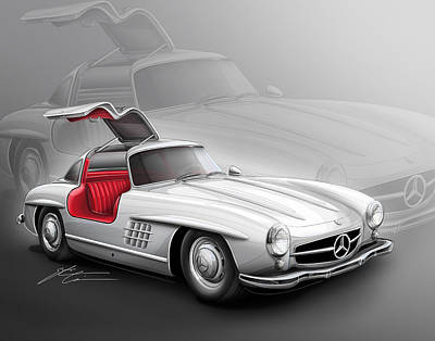 Mercedes Gullwing 300sl 1955 Poster by Etienne Carignan