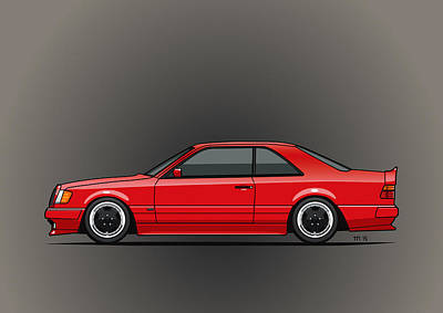Mercedes W124 300e Red Amg Hammer Widebody Coupe Poster