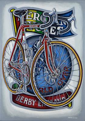 Mercian Flam Red Road Bicycle Poster by Mark Howard Jones