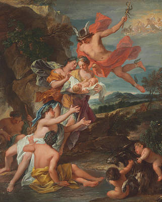 Mercury Entrusting The Infant Bacchus To The Nymphs Of Nysa Poster by Nicolas Bertin