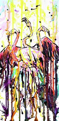 Poster featuring the painting Merging. Flamingos by Zaira Dzhaubaeva