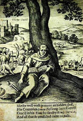 Merlin The Magician British 1812 Illustration With Castle And Mythical Beasts Poster by Peter Gumaer Ogden Collection