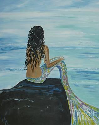 Mermaid Awaits Poster by Leslie Allen