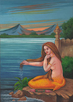 Mermaid Fish Woman Painting Mysterious Watercolor Artwork Poster by A K Mundra