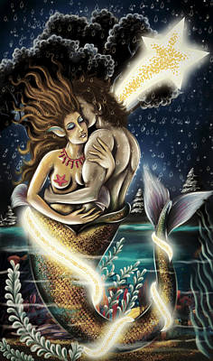 Mermaid In Love Colored Version Poster by Arun Sivaprasad