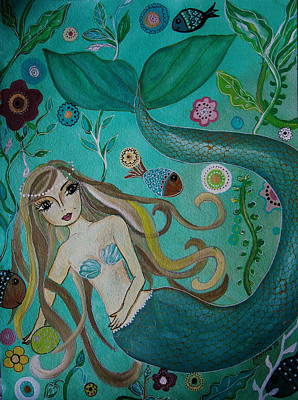 Mermaid-lady Of The Sea Poster by Pristine Cartera Turkus