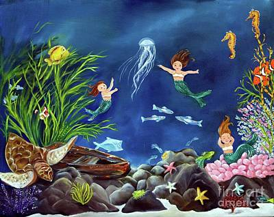 Poster featuring the painting Mermaid Recess by Carol Sweetwood