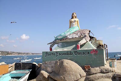 Mermaid Statue Puerto Escondido Oaxaca Mexico Poster by Linda Queally