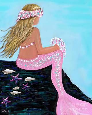 Poster featuring the painting Mermaid Sweetie by Leslie Allen
