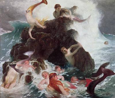 Mermaids At Play Poster by Arnold Bocklin