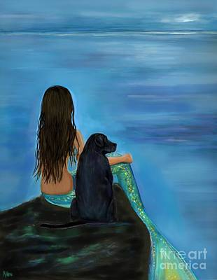 Poster featuring the painting Mermaids Loyal Bud by Leslie Allen