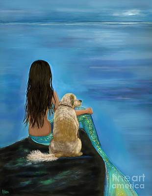 Poster featuring the painting Mermaids Loyal Buddy by Leslie Allen