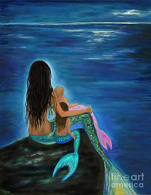 Poster featuring the painting Mermaids Sweet Little Girls by Leslie Allen