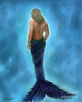 Poster featuring the painting Merman Majestic by Leslie Allen