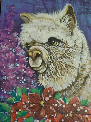 Poster featuring the painting Merry Christmas Alpaca by Patty Sjolin