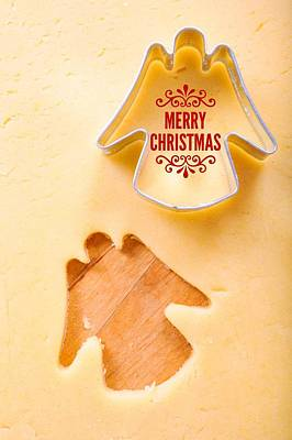 Merry Christmas Angel Cookie Cutter Poster