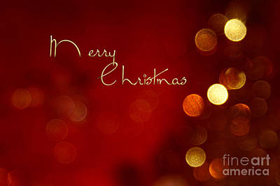 Merry Christmas Card - Bokeh Poster by Aimelle