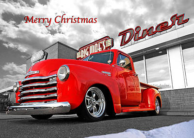 Merry Christmas Chevy Pickup Poster