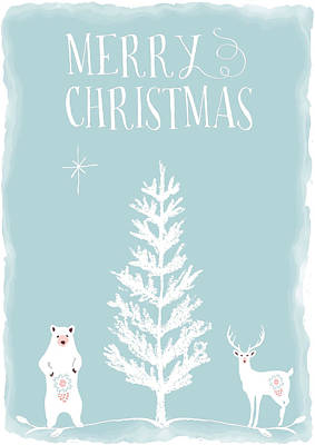Merry Christmas Funky Animals  Poster by Amanda Lakey