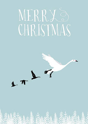 Merry Christmas Funky Geese Poster