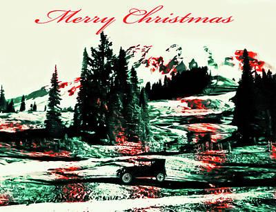 Merry Christmas Mount Rainier Poster
