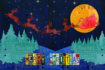 Merry Christmas Santa And His Sleigh Recycled Vintage License Plate Art Poster by Design Turnpike