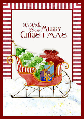 Merry Christmas Santa's Sleigh W Gifts In Snow Poster by Audrey Jeanne Roberts