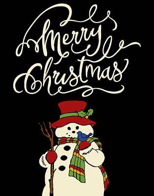 Merry Christmas Snowman Poster by Marilu Windvand