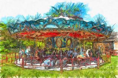 Merry Go Round Pencil Poster by Edward Fielding