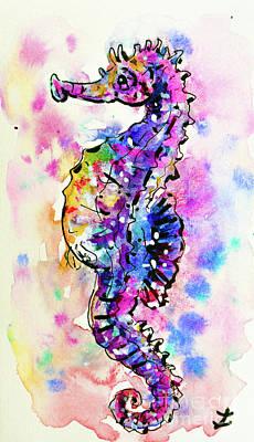 Merry Seahorse Poster by Zaira Dzhaubaeva