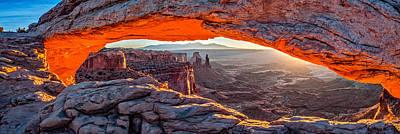 Mesa Arch Sunrise - Canyonlands National Park Panoramic Composite Photograph Poster
