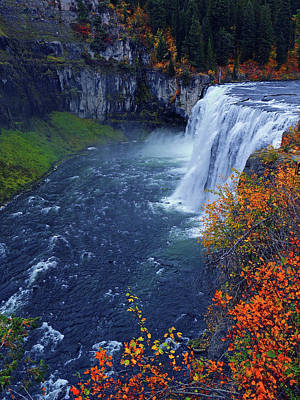 Mesa Falls In The Fall Poster by Raymond Salani III