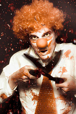 Messy Homicidal Clown In Bloody Horror Massacre Poster