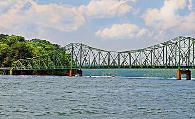 Metal Bridge Over A Lake Poster