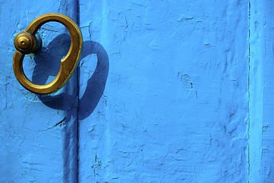 Poster featuring the photograph Metal Knob Blue Door by Prakash Ghai