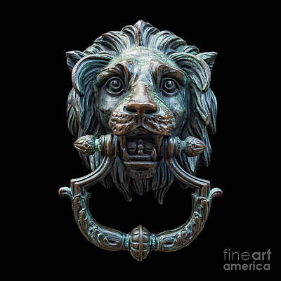 Poster featuring the photograph Metal Lion Head Doorknocker Isolated Black by Antony McAulay