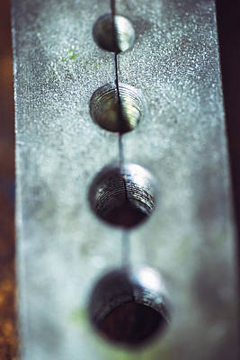 Metal Plate With Nuts Macro Texture Background Poster by Eduardo Huelin