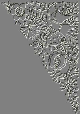 Metal Relief Moravian Folk Ornament Poster by Miroslav Nemecek