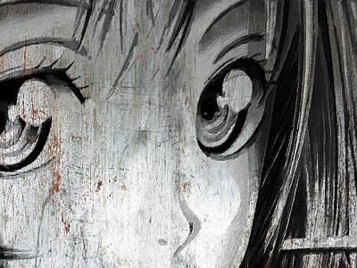 Metallic Anime Girl Eyes 2 Black And White Poster by Tony Rubino