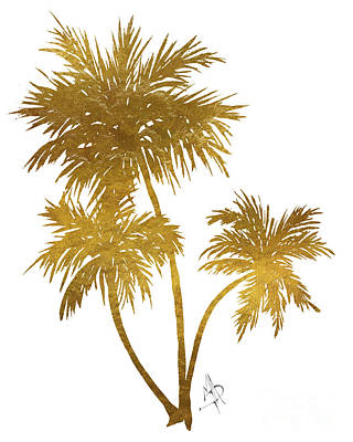 Metallic Gold Palm Trees Tropical Trendy Art Poster by Megan Duncanson
