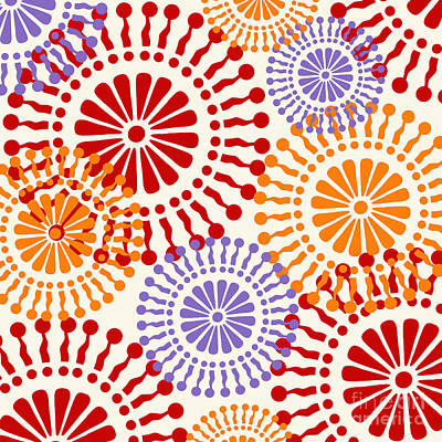 Metro Retro Circle Pattern Warm Poster by Mindy Sommers