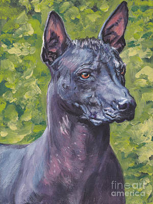 Poster featuring the painting Mexican Hairless Dog Standard Xolo by Lee Ann Shepard